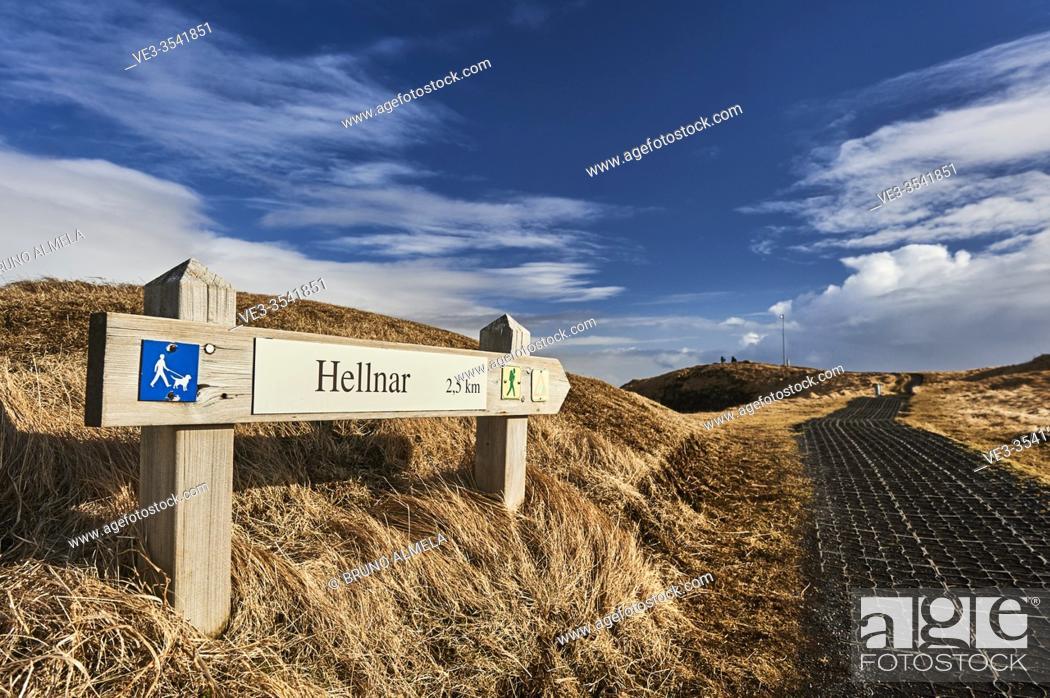 Stock Photo: Path sign of Hellnar-Arnarstapi coastal path, Snaefellsnes peninsula (region of Vesturland, Iceland).