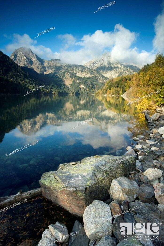 Stock Photo: Saint Maurici lake, Aigüestortes national park, Lerida province, Catalonia, Pyrenees, Spain.