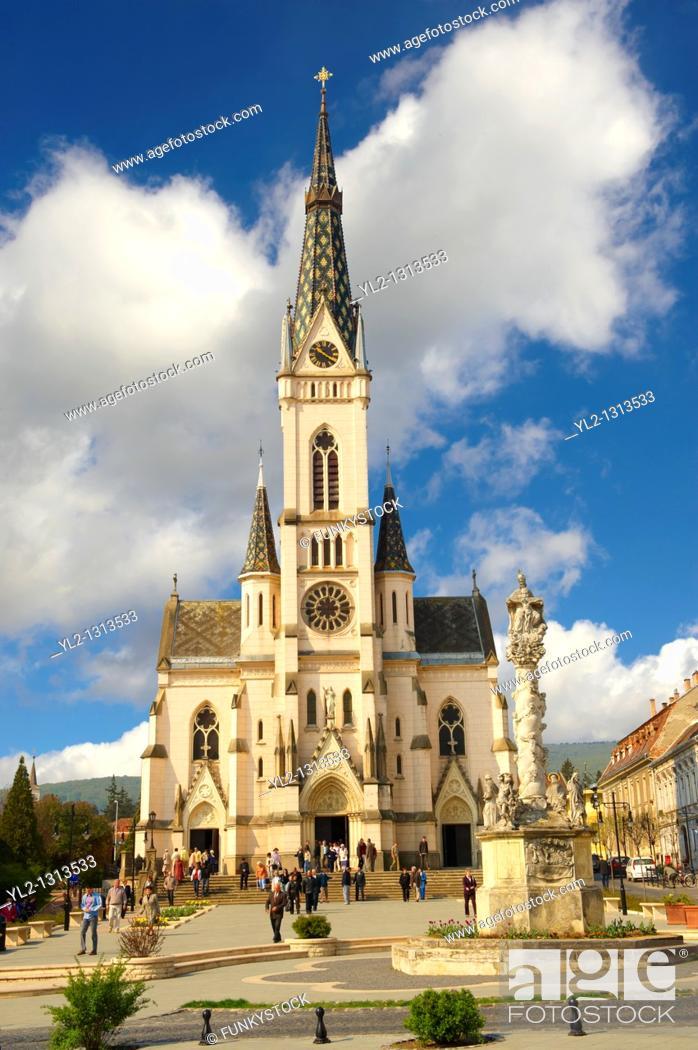 Stock Photo: Neo Gothic parish church, Koszeg Hungary.