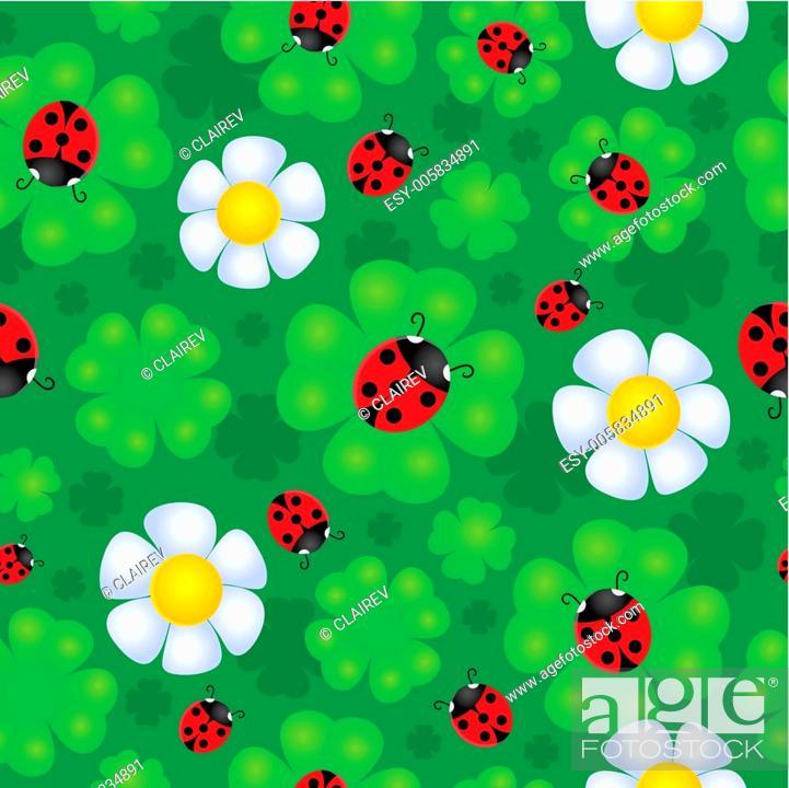 Stock Vector: Seamless background flower theme 1.