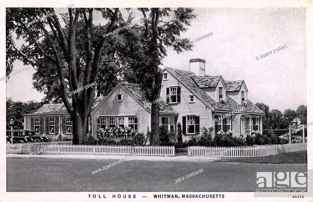Stock Photo: Toll House Inn Restaurant, Whitman, Massachusetts, USA. The Toll House was built in 1709, and used for collecting tolls during the days when the whaling.