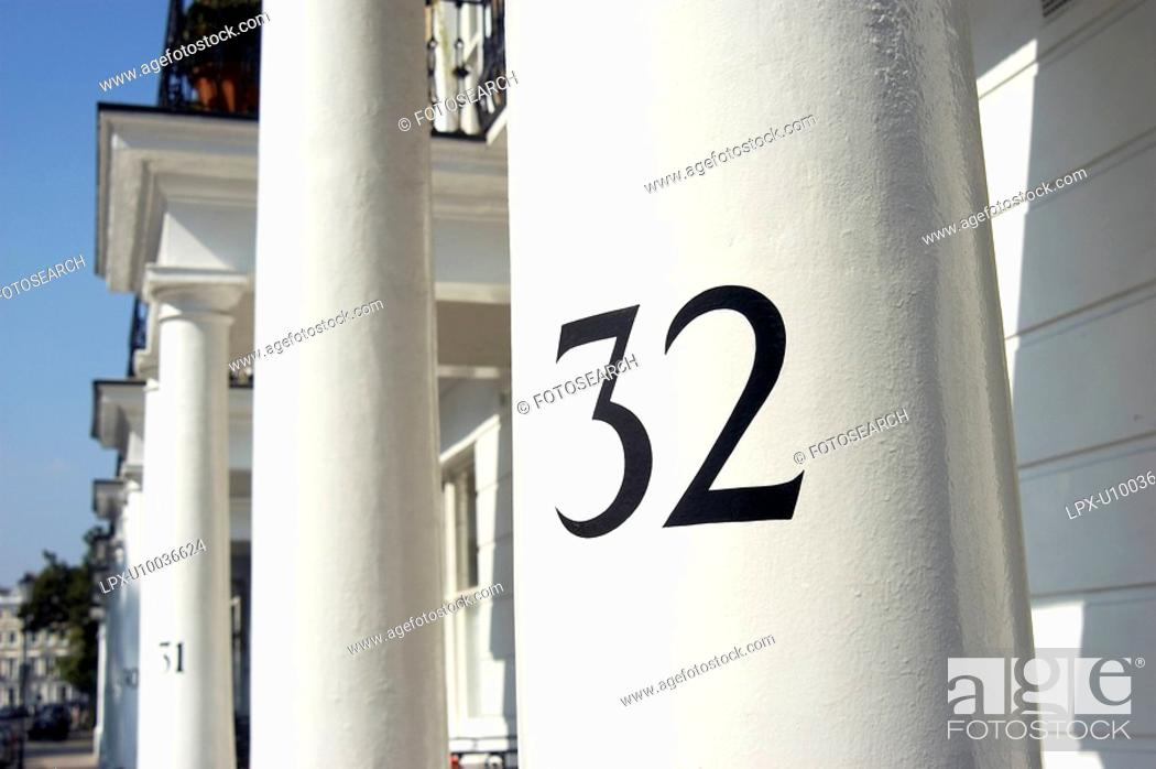 Stock Photo: House numbers in a West London street.