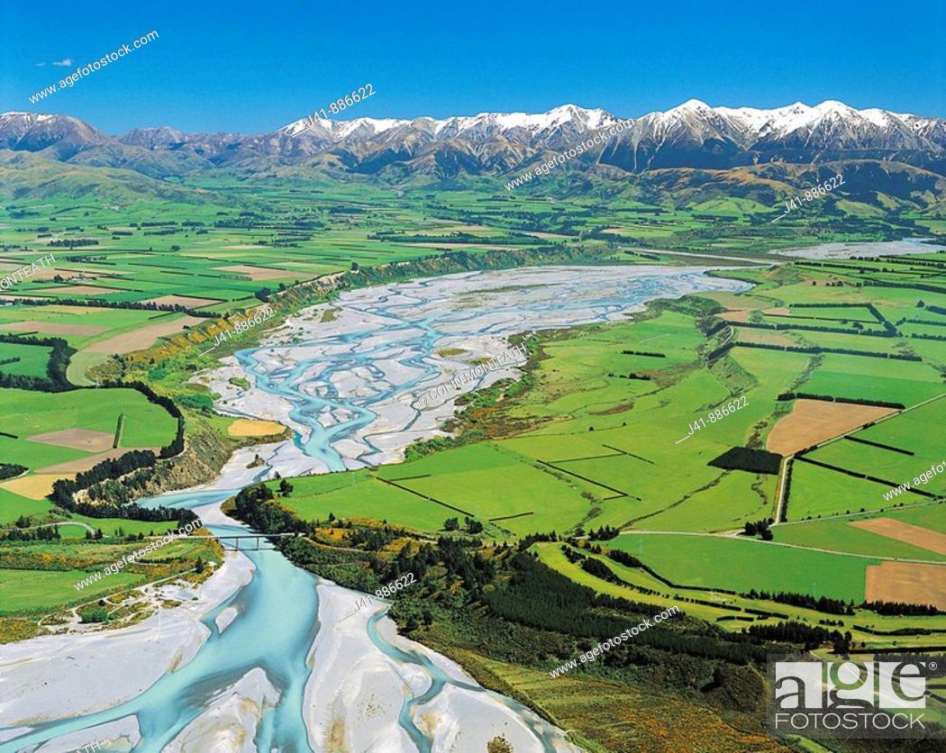 Stock Photo: Waimakariri Gorge and the Torlesse Range aerial view Canterbury New Zealand.