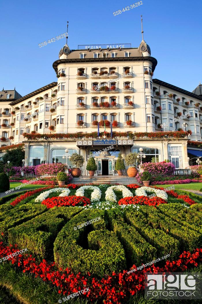 Stock Photo: Formal garden in front of a hotel, Regina Palace Hotel, Stresa, Lake Maggiore, Piedmont, Italy.