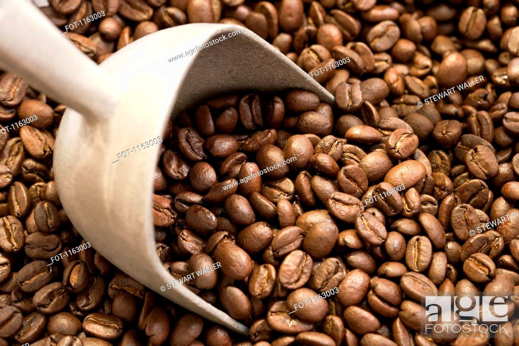 Stock Photo: Coffee beans and scoop.