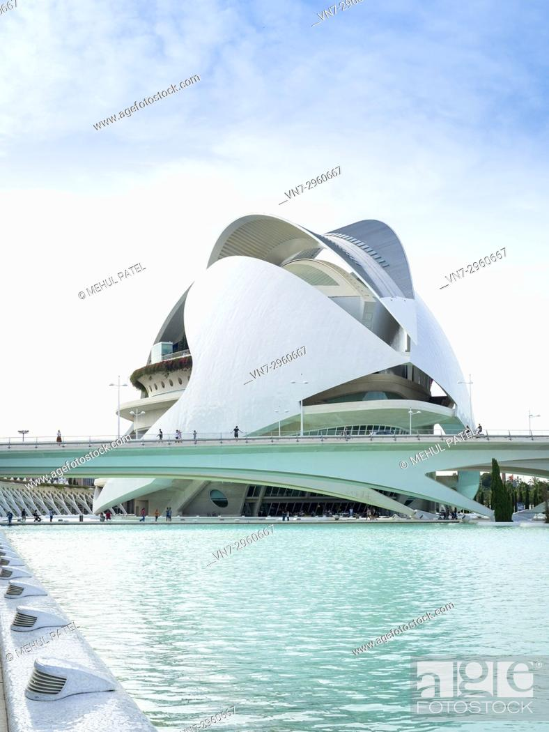 Stock Photo: Palau de les Arts (Opera house and music venue) in the City of Arts and Sciences complex, Valencia, Spain, Europe. The Palau de les Arts designed by local.