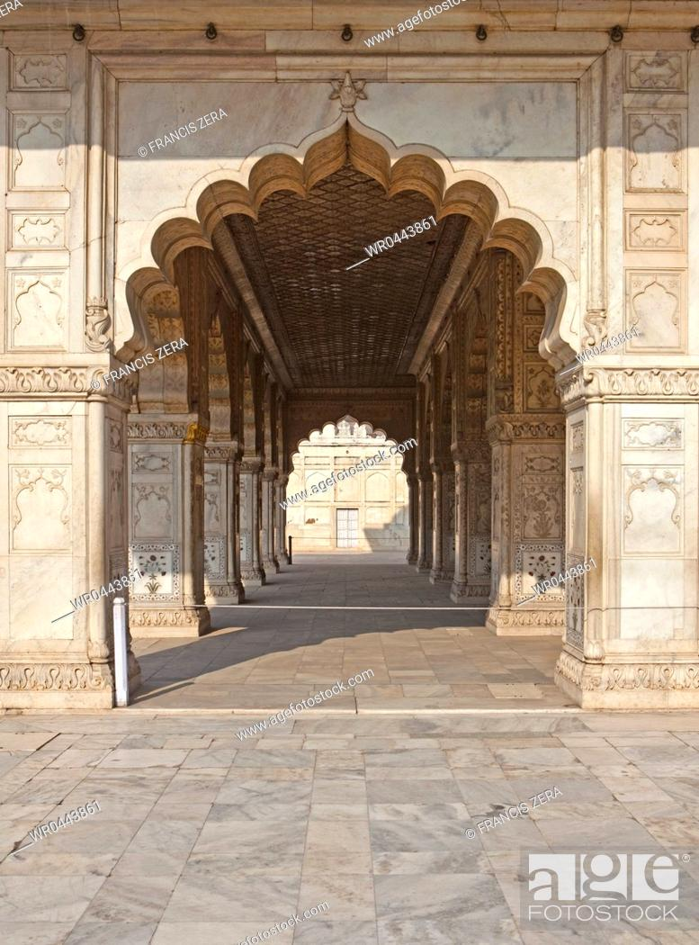 Stock Photo: Arched Hallway at the Red Fort Complex.