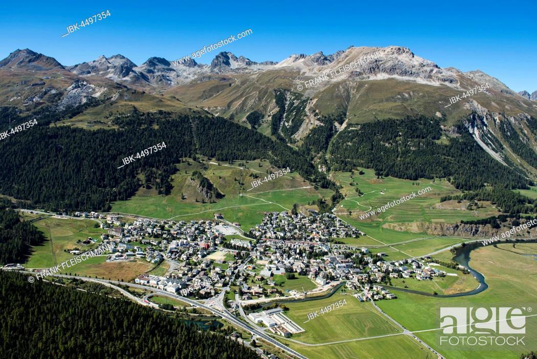 Stock Photo: Celerina, Piz Nair, Piz Saluver, Piz Ot, Piz Bever, Inn District, Engadin, Canton of Grisons, Switzerland.