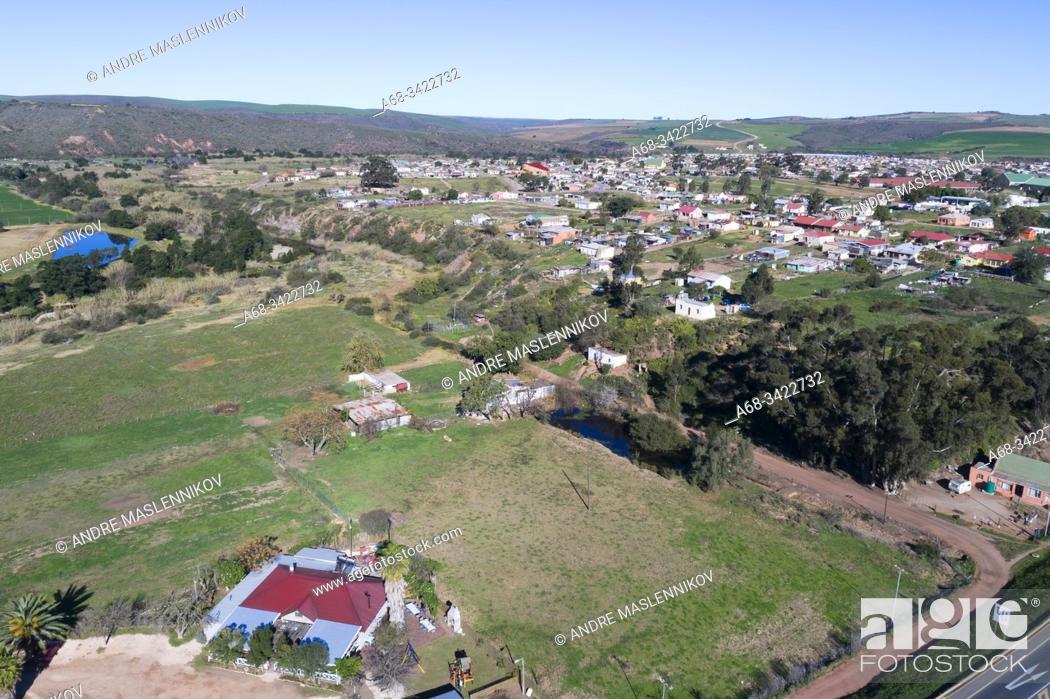 Stock Photo: Heidelberg village and road N2 Eksteen St, Heidelberg - Wc, Heidelberg, 6665, South Africa.