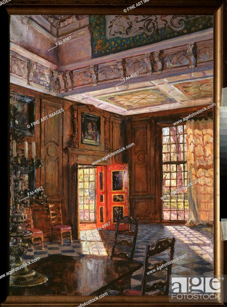 Stock Photo: The Central Hall in the Palace Monplaisir in Peterhof. Yanush, Leonid Borisovich (1897-1978). Oil on canvas. Modern. 1960s. Russia.