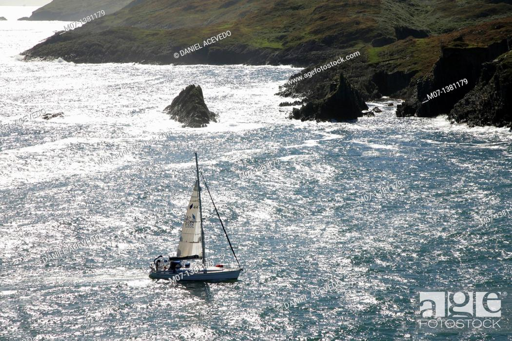 Stock Photo: Sailling boat into Baltimore bay, Ireland.