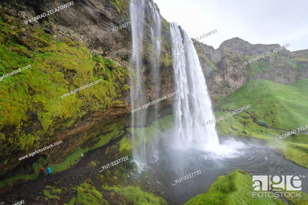 Stock Photo: Famous Seljalandsfoss waterfall in South Region of Iceland.