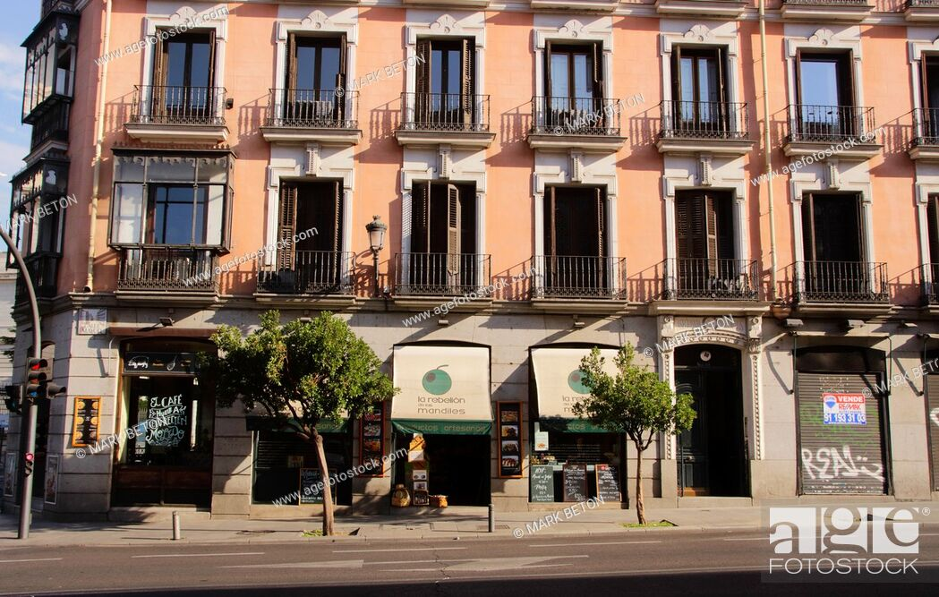 Stock Photo: Buildings along the Calle Mayor street in Madrid Spain.
