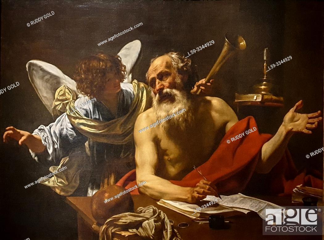 Stock Photo: 'Saint Jerome and the Angel', 1620/21, Simon Vouet (1590-1649).