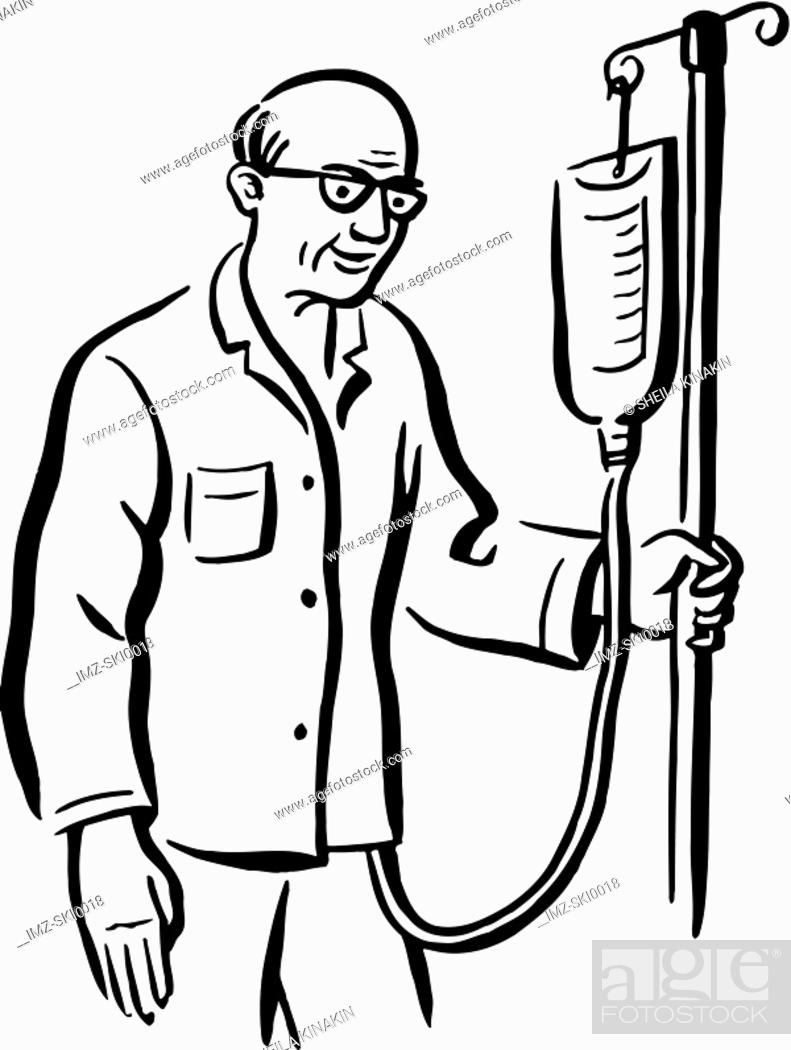 Stock Photo: An elderly man with an intravenous drip.