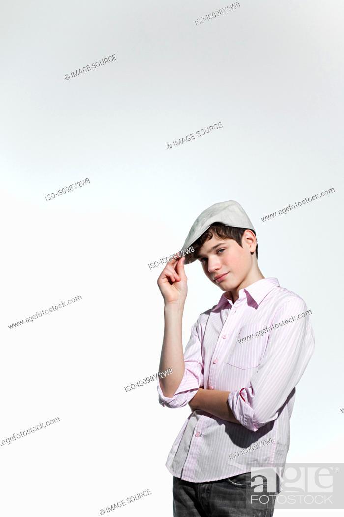 Stock Photo: Boy wearing a flat cap.