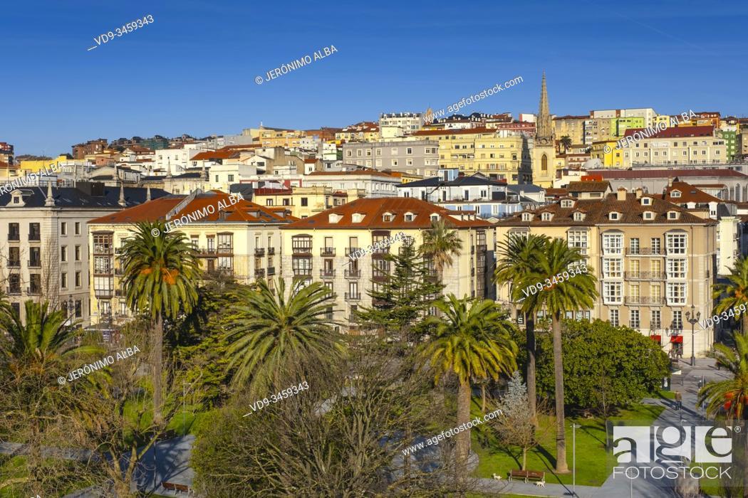 Stock Photo: Panoramic view, urban center of Santander city. Cantabria, north Spain. Europe.