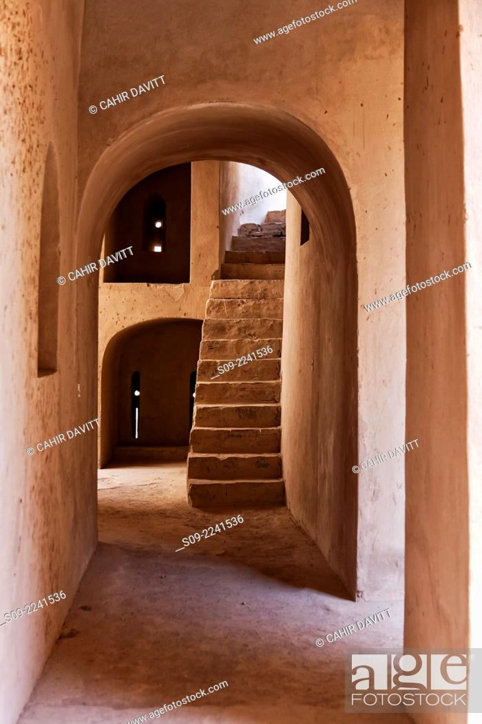 Stock Photo: Internal view of alleyway and steps leading to roof terrace located within Rustaq Fort, Rustaq, Al Batinah South Governorate, Oman.