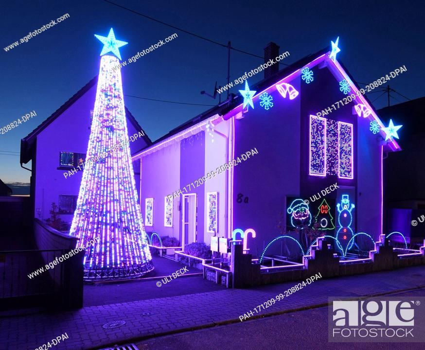 Stock Photo: A house is decorated with some 30, 000 LED lights for the Christmas season in Karlsruhe, Germany, 7 December 2017. Paired with music the light show proves to be.