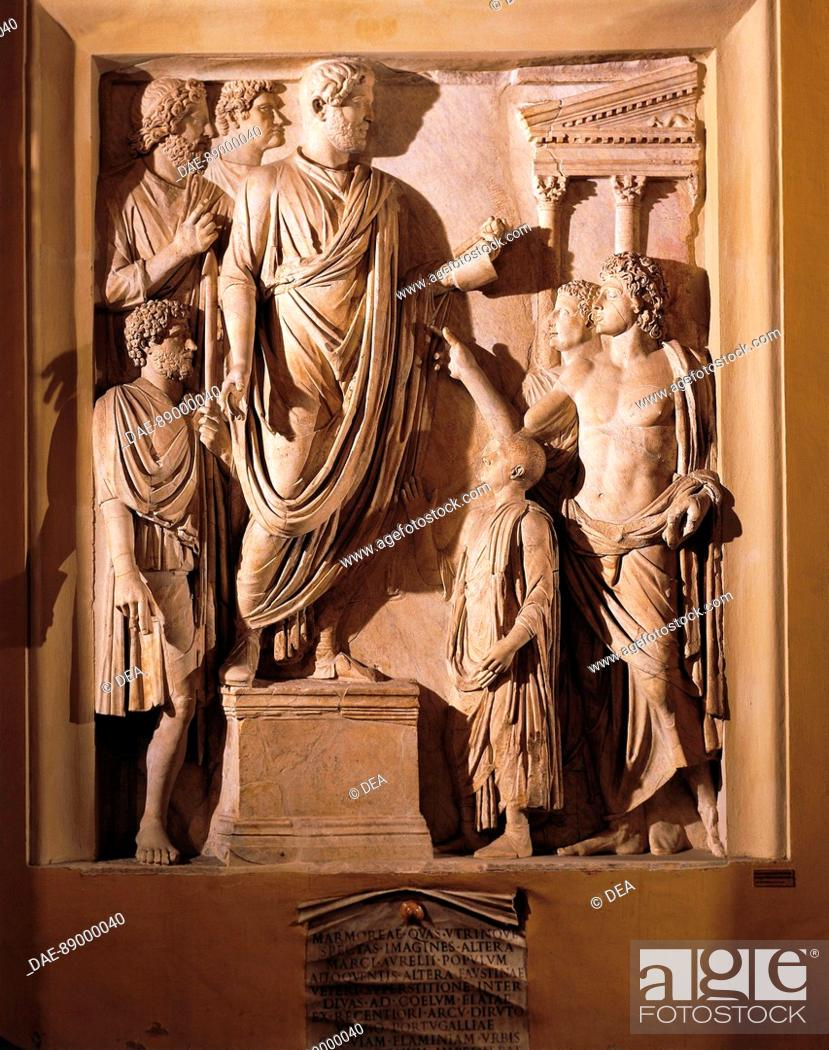Stock Photo: Roman civilization. Relief from the Arch of Portugal along via Lata. Detail: the Emperor Hadrian delivering funeral oration for his wife Sabina.