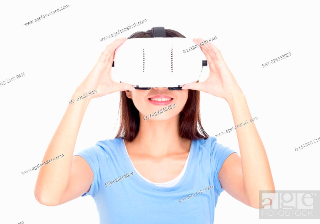 Stock Photo: Woman wear of vr device.