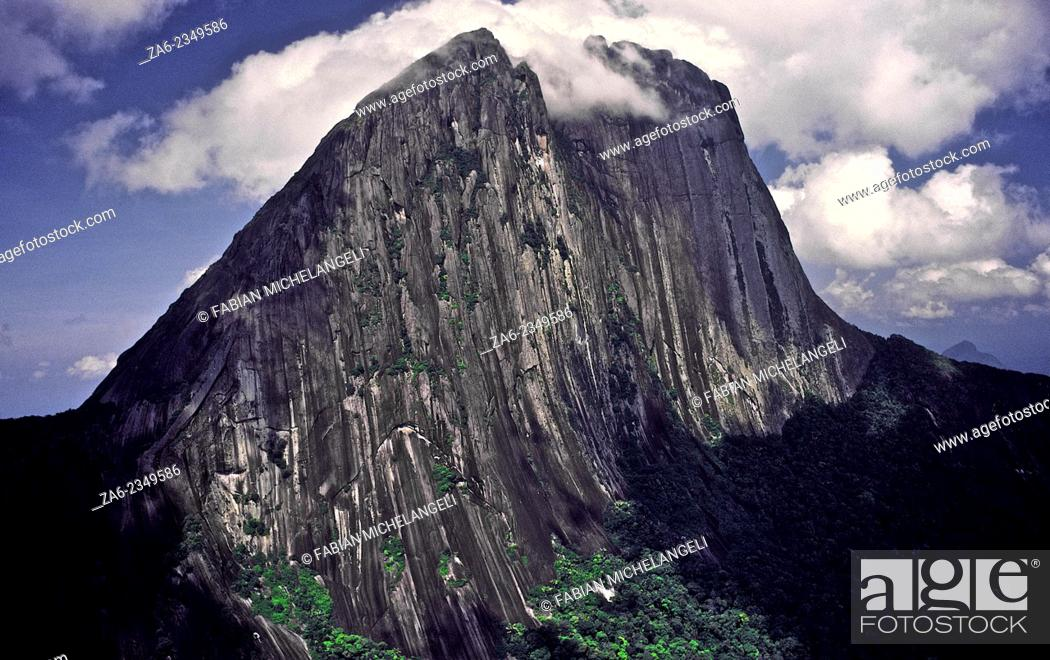 Stock Photo: Aerial view of the yet unclimbed Eastern wall of Cerro Aratitiyope. exceeding one thousand meters high. The mountai rises one thousand six hundred meters over.