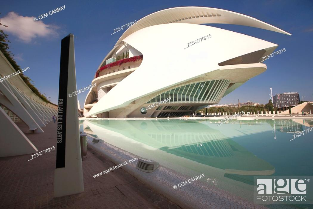 Stock Photo: View to the the Palau de les Arts, City of Arts and Sciences, Valencia, Spain, Europe.