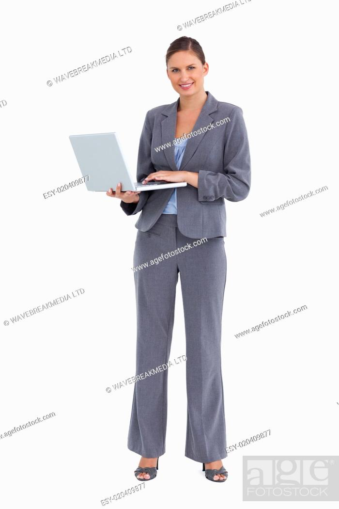 Stock Photo: Smiling tradeswoman with her notebook.