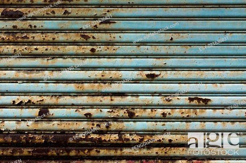 Stock Photo: old metal door.