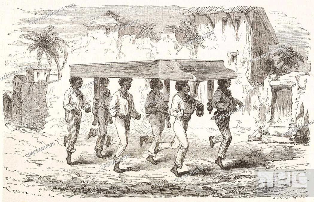 Imagen: Natives carrying a piano in Rio de Janeiro, drawing by Riou from a sketch by Biard, from Two years in Brazil, by Auguste Francois Biard, 1858-1859.