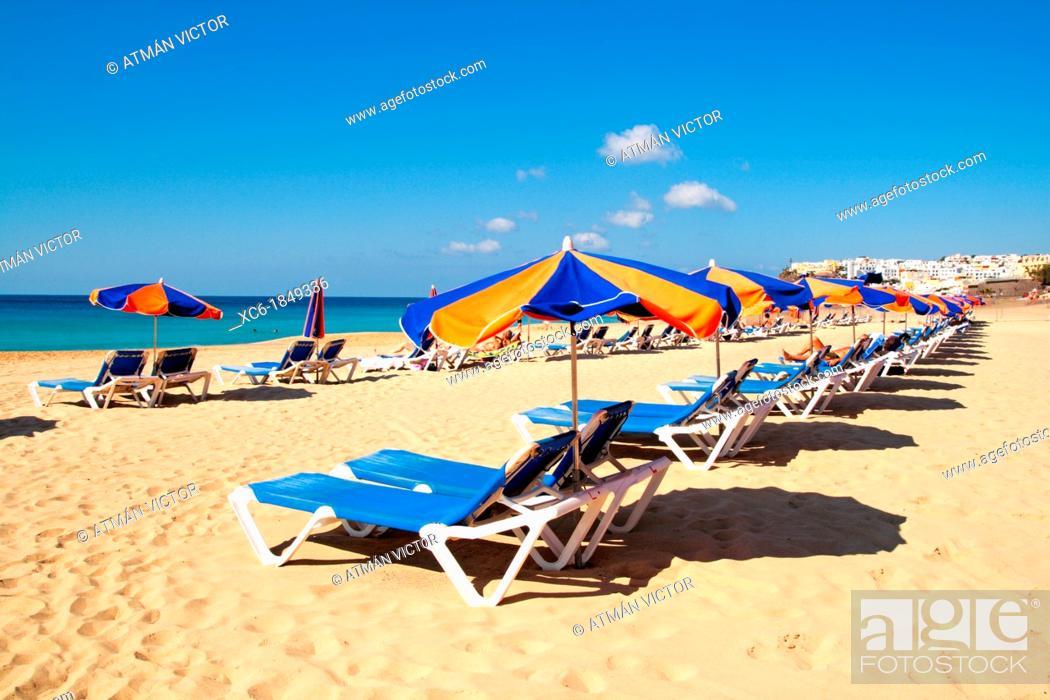 Stock Photo: Beach of Morro Jable Fuerteventura.