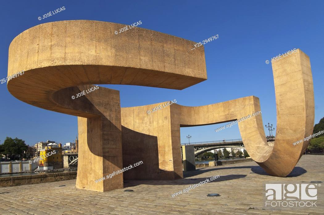 Stock Photo: Monument to Tolerance (by Eduardo Chillida), Seville, Region of Andalusia, Spain, Europe.
