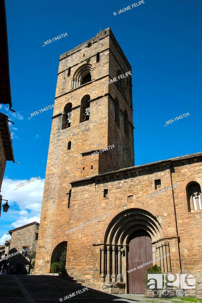 Stock Photo: Church of Santa Maria (XIth Century), Ainsa, Huesca, Spain.