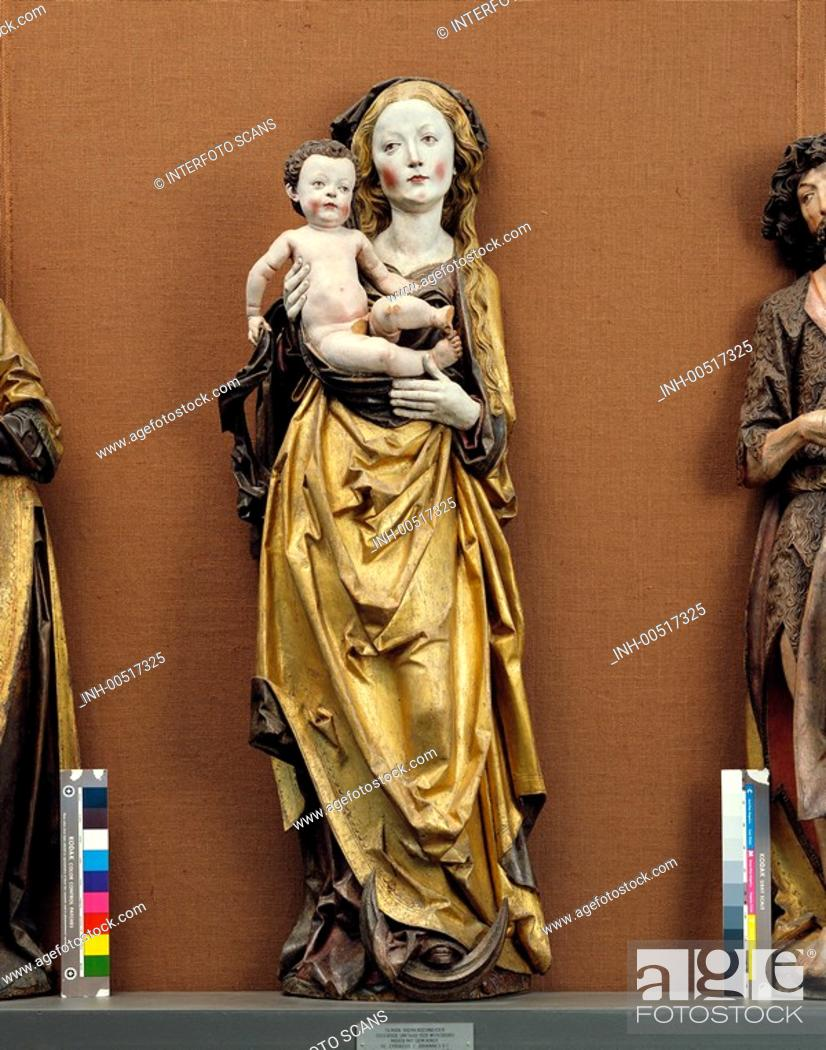 Stock Photo: fine arts, Riemenschneider, Tilman, around 1460 - 7 7 1531, Mary with child, sculpture, wood, Gramschatz, Unterfranken, around 1505.