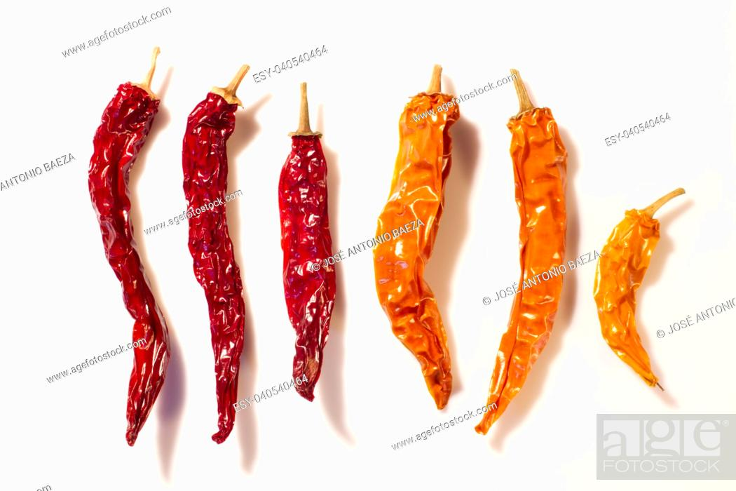 Stock Photo: Dried peppers isolated on a white background.