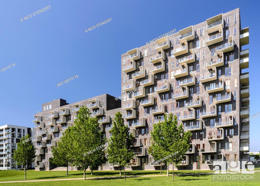 Stock Photo Modern Apartment House Designed By Lundgaard Tranberg Architects District Oerestad Amager Copenhagen Denmark