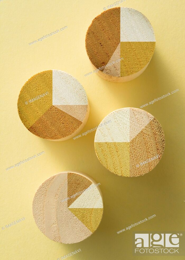 Stock Photo: Wooden pie charts.
