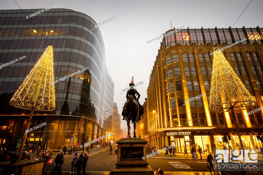 Stock Photo: The Wellington Statue at the Gallery of Modern Art in Glasgow - at Christmas.