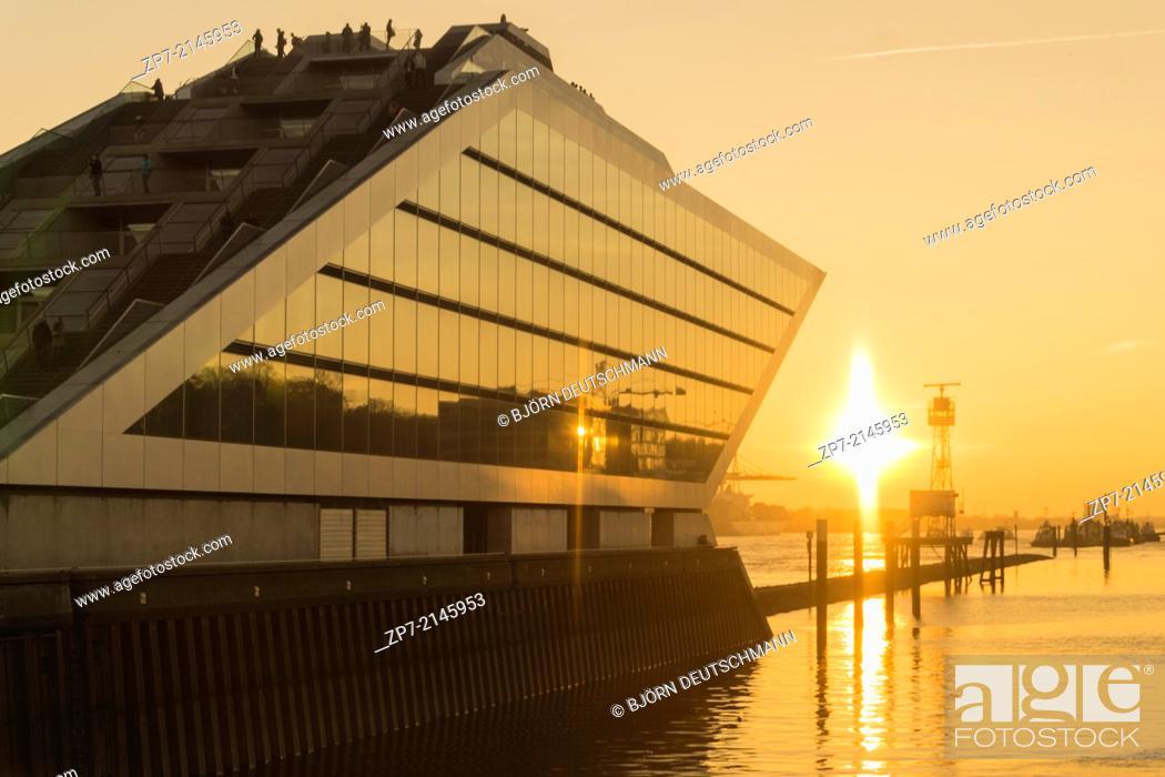 Stock Photo: Sunset at the Docklands in Hamburg Altona Altstadt.