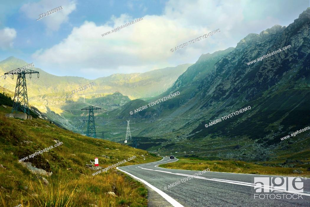 Stock Photo: Serpentine road in the mountains of Romania. Pass Transfegerash.