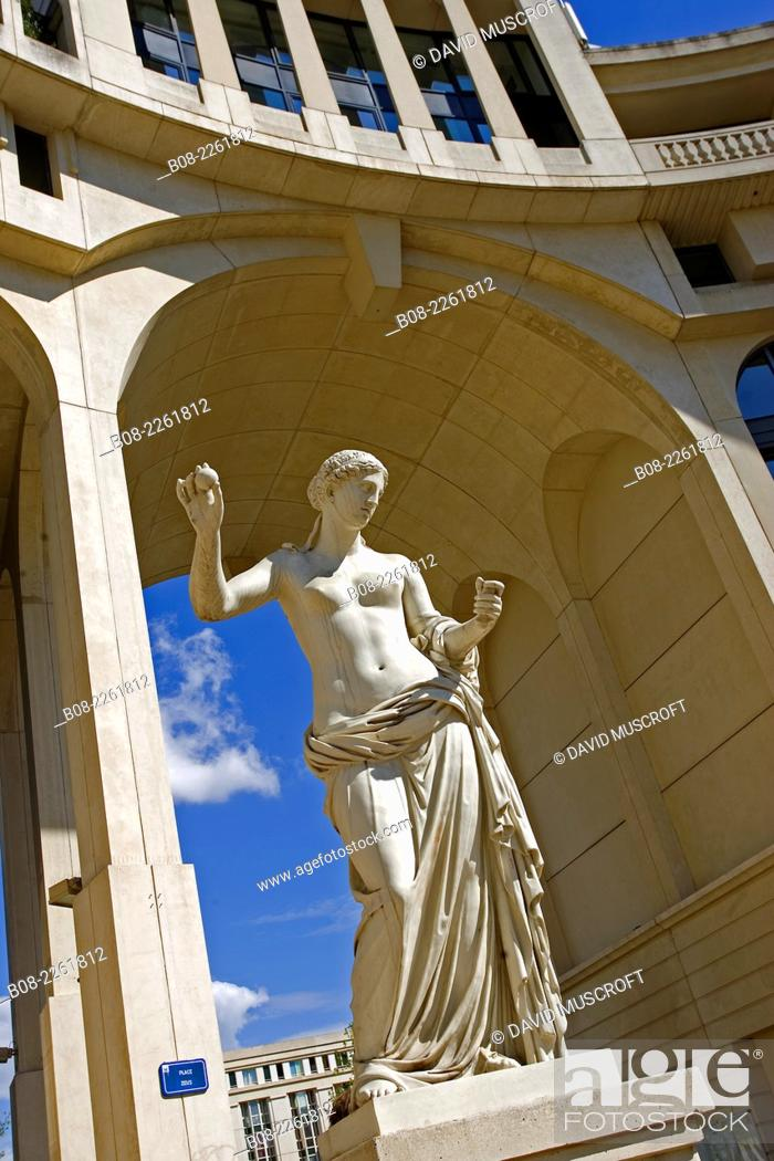 Stock Photo: The Antigone area, central Montpellier city, Languedoc, southern France.