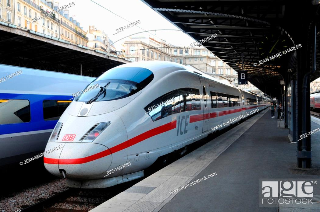 Stock Photo: ICE (Inter-City-Express), German high-speed train running in Germany and neighbouring countries, the highest service category offered by DB Fernverkehr.