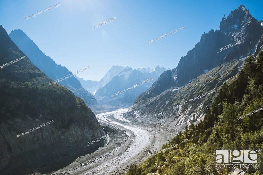 """Stock Photo: The Mer de Glace (""""Sea of Ice"""") is a valley glacier located on the northern slopes of the Mont Blanc massif, in the French Alps. It is 7."""
