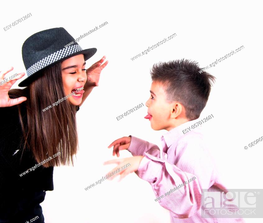 Stock Photo: happy brother and sister having fun.