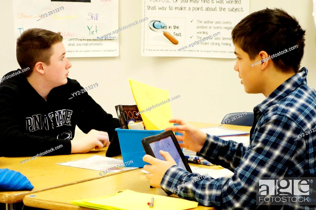 Stock Photo: 7th Grade Boys Using iPads for Lesson, Wellsville, New York, USA.