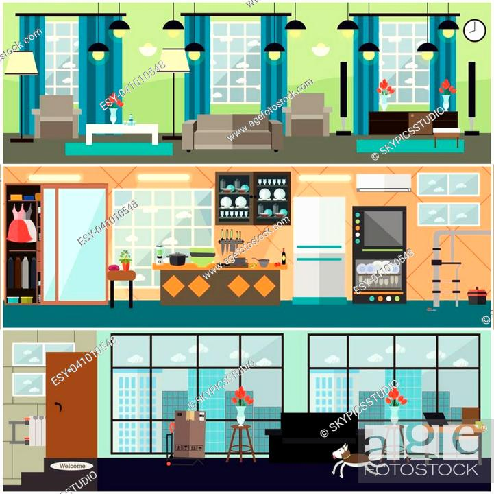 Vector Set Of Posters Banners With Living Room Kitchen Interior Stock Vector Vector And Low Budget Royalty Free Image Pic Esy 041010548 Agefotostock