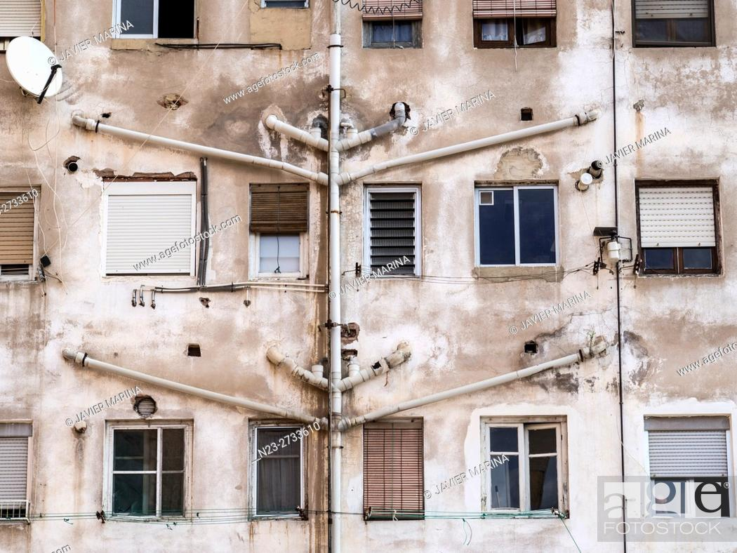 Stock Photo: Windows at the back of a building, Valencia, Spain.