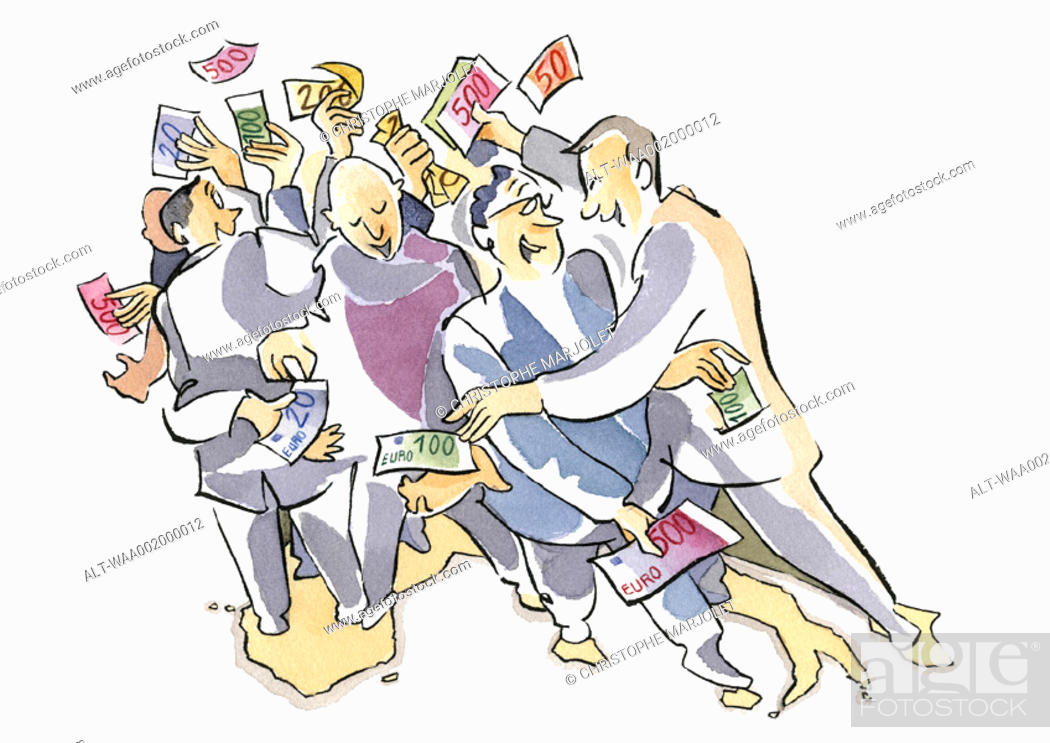 Stock Photo: Crowd snatching at euro bills.