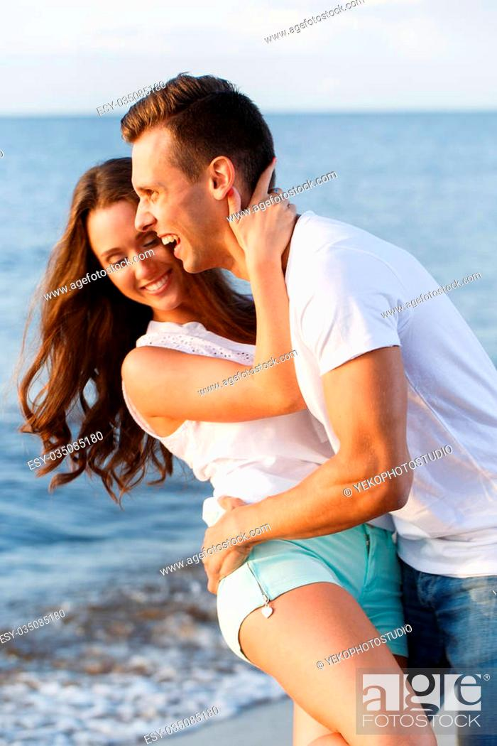 Summer Sea Cute Lovely Couple On The Beach Stock Photo