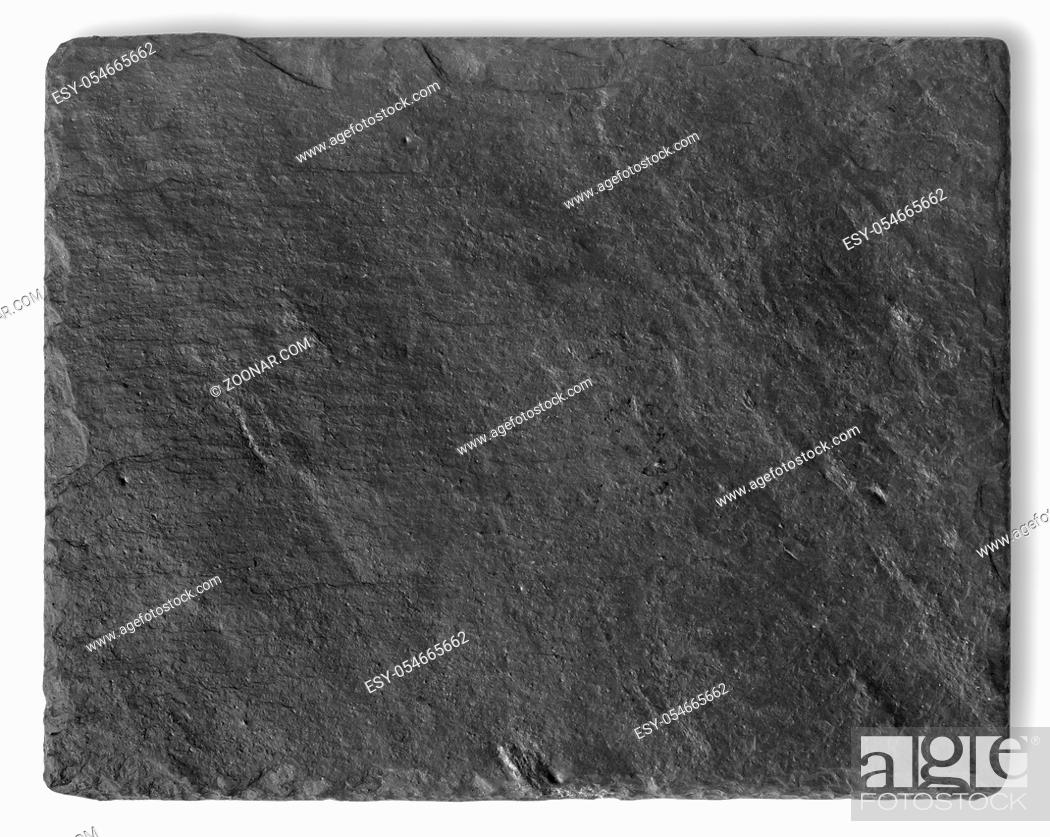 Stock Photo: Blank black stone shale plate isolated on white background with copy space.